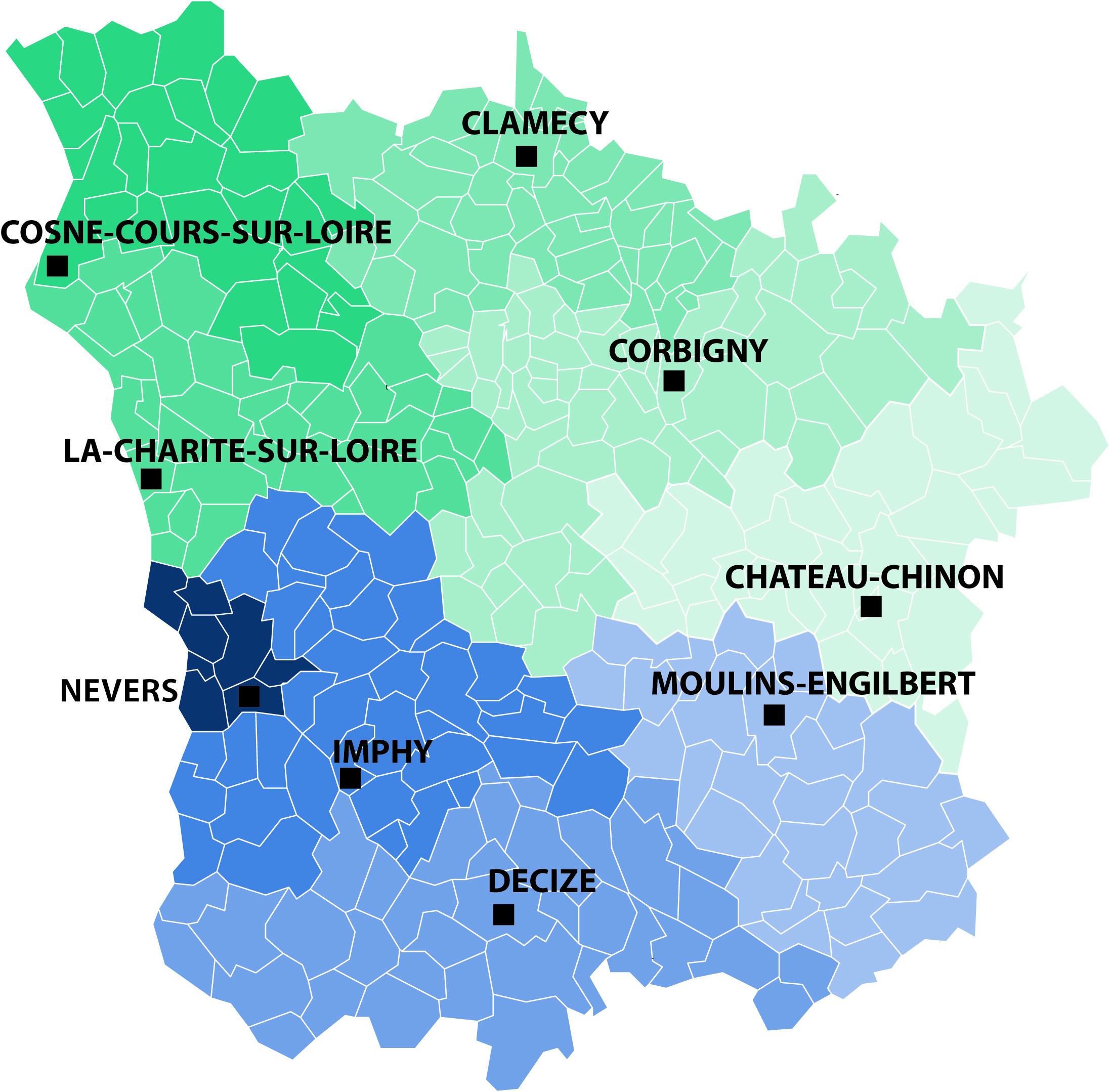 Carte des SAMS de la Nièvre