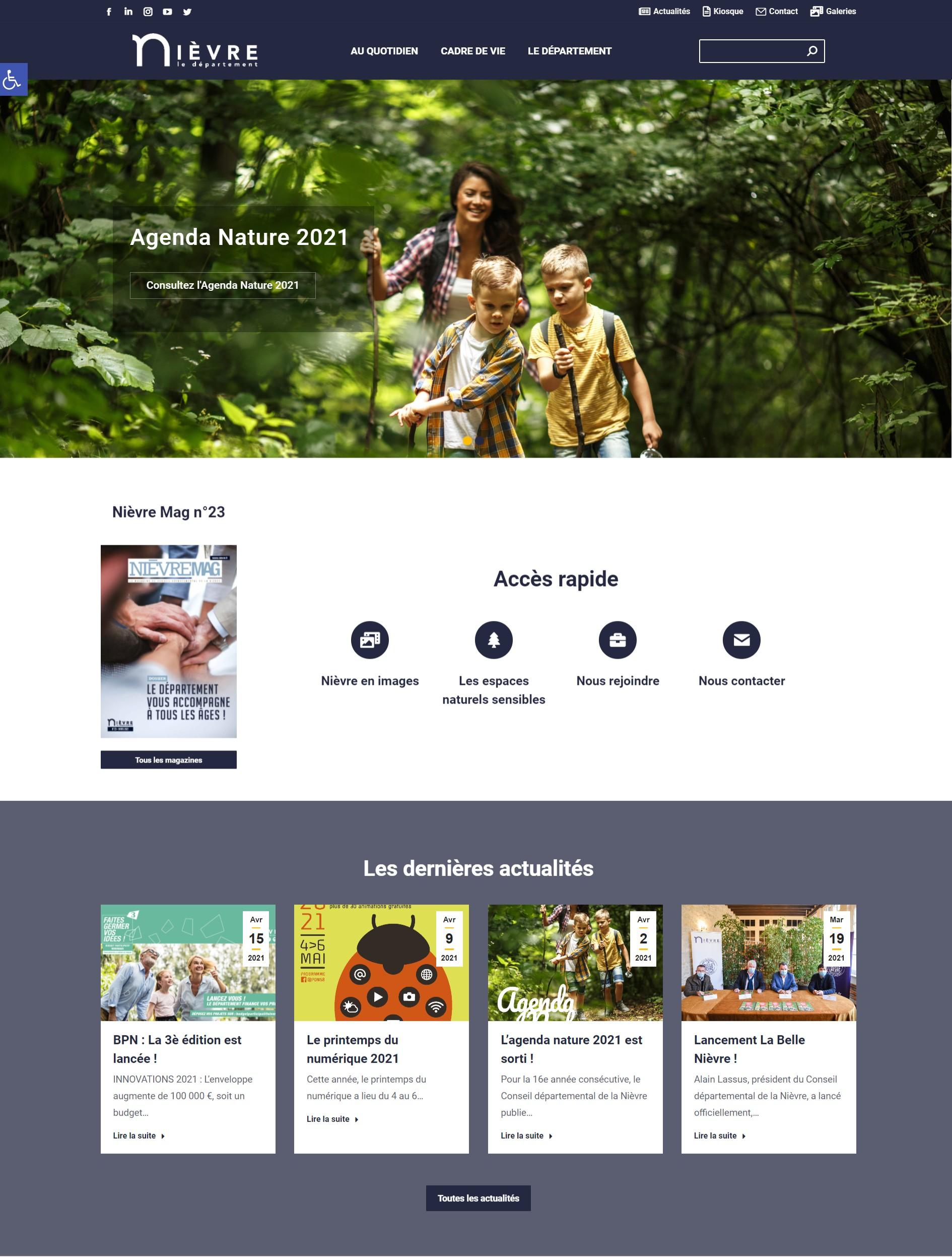 Capture d'écran de la nouvelle version du site Nievre.fr le 01/05/2021